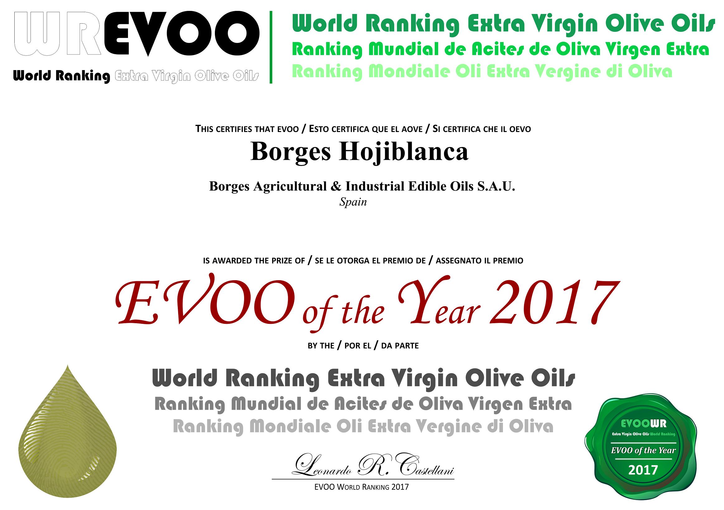 西班牙BORGES百格仕橄欖油世界EVOO年度評比第5名