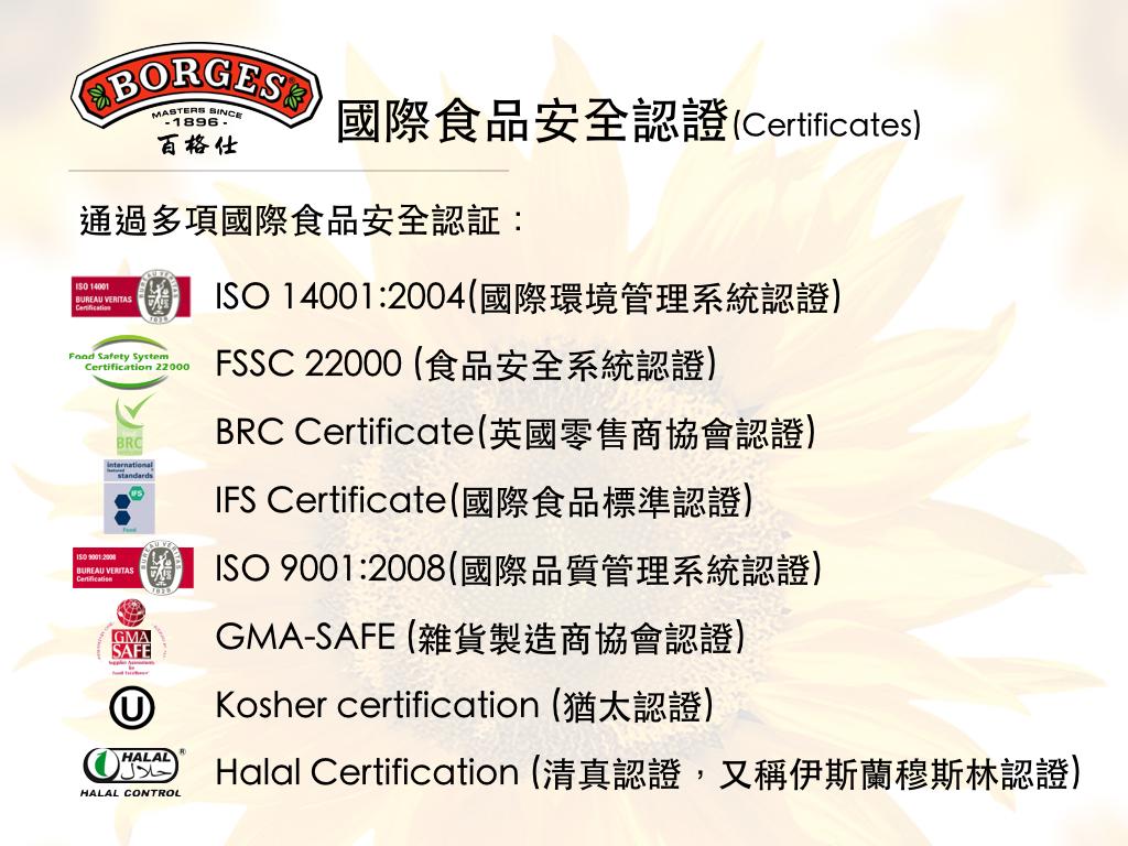 國際食品安全認證(Certificates)
