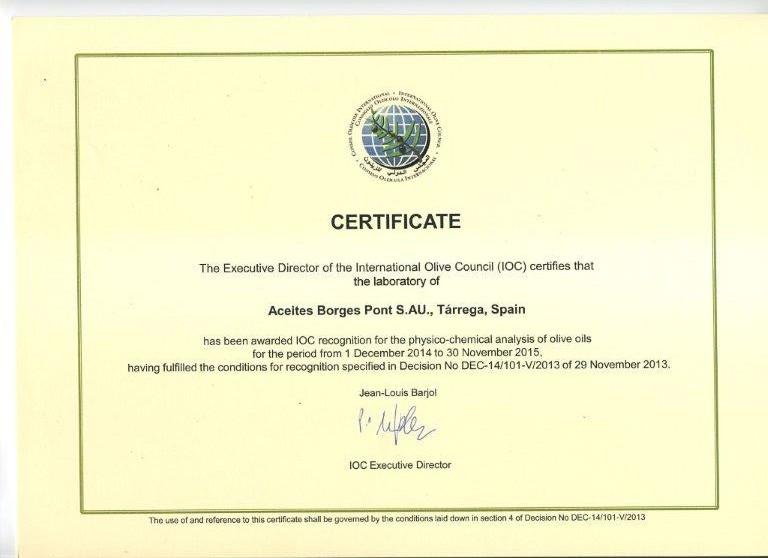 國際橄欖油協會(IOC)認證